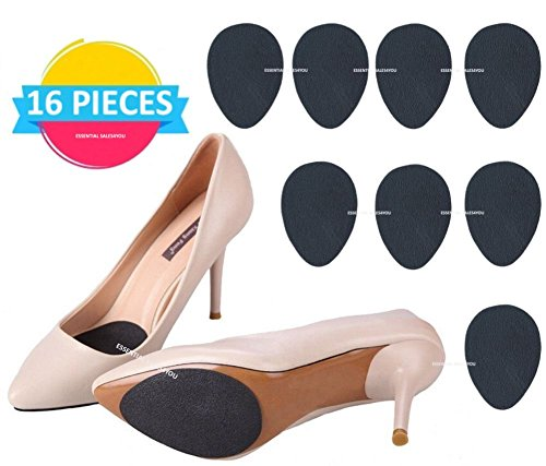 Slip Protector Non Heel (Anti-Slip Stick on Shoe Grip (16 pcs) Pads Non-Slip Rubber Adhesive Sole Protector No Slip Cushion Heel Replacement Pad Prevention)