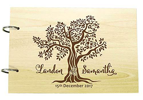 Custom Rustic Wedding Guest Book Wood Engraved Tree Design Bride & Groom Advice Book
