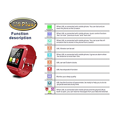 Uwatch U8 Plus Bluetooth Watch for IPhone 6/5s/5/4s/4 Samsung S4/Note2/Note3/Note4 Android Phone Smartphone (Red)