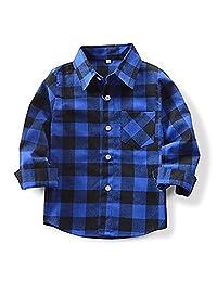 Qin.Orianna Little Kids Classic Long Sleeve Button Down FlannelPlaid Shirt