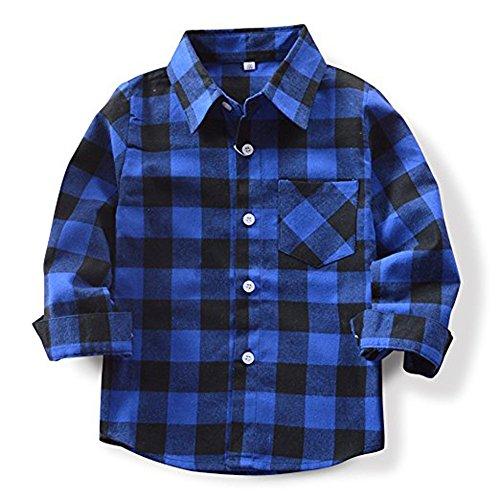 Sleeve Flannel Long Kids (Qin.Orianna Little Kids Classic Long Sleeve Button Down FlannelPlaid Shirt)