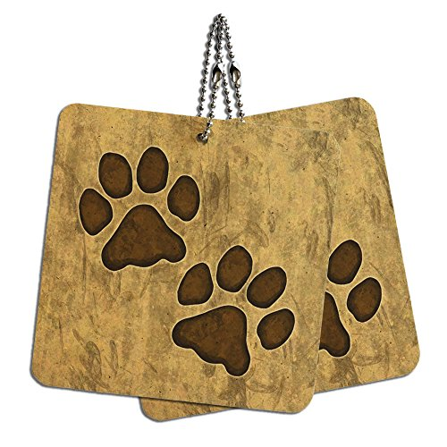 Grungy Tags (Grungy Pet Paw Prints Wood MDF 4