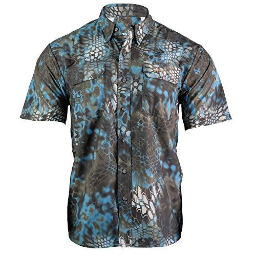 Kryptek Anemos Short Sleeve Camo Hunting & Fishing Shirt (K-Ore Collection), Neptune, M