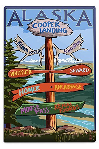 Whittier Hanging - Lantern Press Kenai River, Alaska - Sign Post (12x18 Aluminum Wall Sign, Wall Decor Ready to Hang)