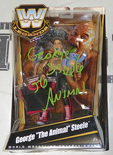 George Steele Signed WWE Classic Legends Action Figure COA The Animal - PSA/DNA Certified - Autographed Wrestling Miscellaneous Items
