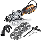 VonHaus 4-1/2' Compact Circular Saw 5.8 Amp with Adjustable Miter Function 0°- 45°, Dust Port, Vacuum Hose and 4x Blades for Wood Cutting