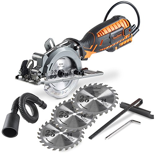 VonHaus 5.8 Amp Corded Ultra-Compact Circular Saw - 3,500 RPM with Adjustable Miter Function 0°-45°, Dust Port, Vacuum Hose and 4x Saw Blades for Wood Cutting (Adjustable Circular Saw)
