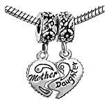 EvesCity(TM) Charms Silver Mother Daughter Breakaway Hearts Sterling Bead For Snake Chain Charm Bracelets