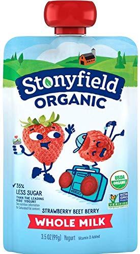 Stonyfield Organic Whole Milk Strawberry-Beet-Berry Yogurt 3.5 oz. Pouch