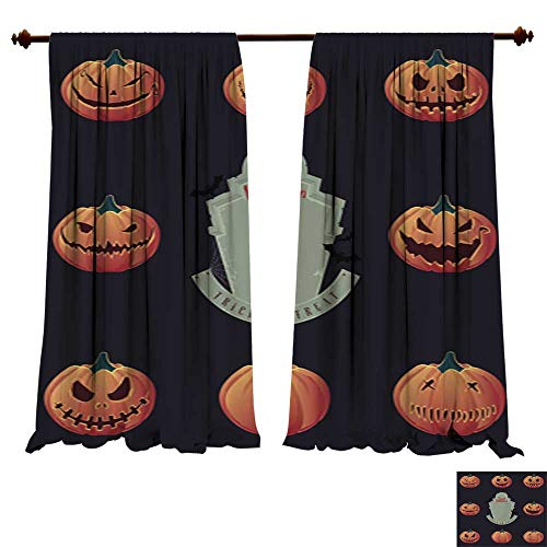 DragonBuildingMaterials Blackout Curtain Panels Halloween Pumpkin Carving and Creepy Tombstone Vector Energy Efficient Thermal Insulated -