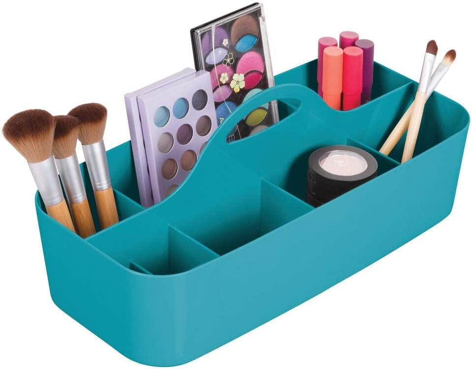 mDesign Plastic Makeup Storage Organizer Caddy Tote - Divided Basket Bin, Handle for Eyeshadow Palettes, Nail Polish, Makeup Brushes, Cosmetic and Shower Essentials - Large - Teal
