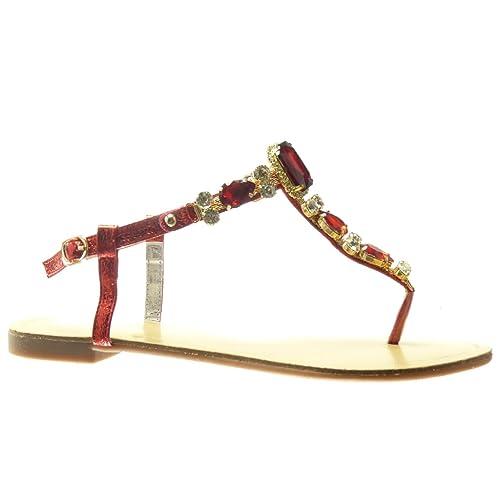 Angkorly - Chaussure Mode Sandale Tong salomés Femme Bijoux Strass Diamant  Fantaisie Talon Plat 1.5 CM 56df4aaca595