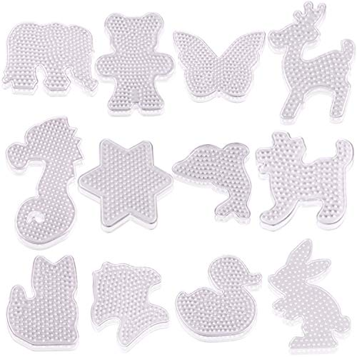 Shaped Board - AOPOO 12 Pieces Fuse Beads Pegboards Clear Animal-Shaped Pegboards Small Plastic Template Beads Boards for Kids Craft Beads