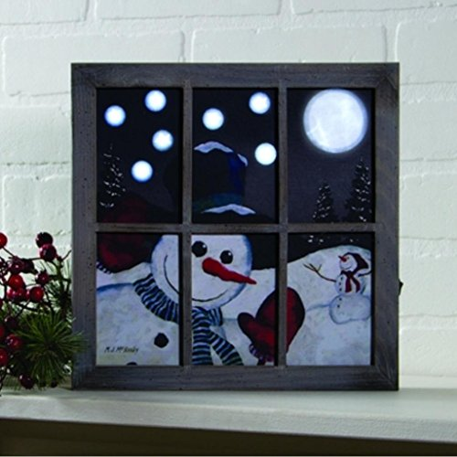 Wood Snowman Plaque - Window Peeking Snowman LED Light-up 10 x 10 inch Christmas Window Frame Wall Art