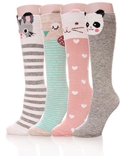 Color City Girls Socks Knee High Stockings Cartoon Animal Warm Cotton Socks (4 Pairs) (Knee Socks Girls)