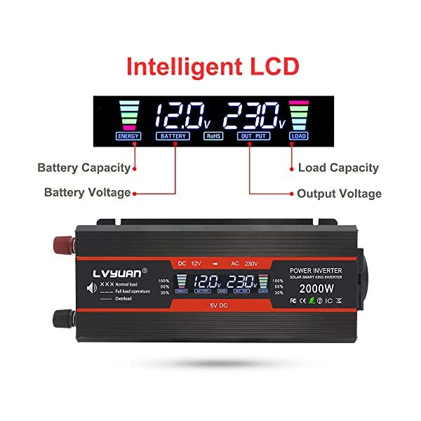 51pya9l7p3L LVYUAN Spannungswandler 12V 230V 1000W / 2000W Wechselrichter LCD mit 2 USB