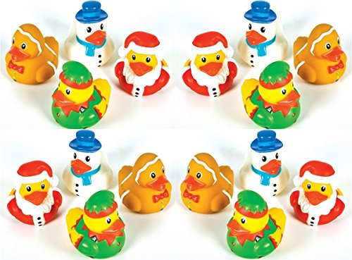 24 Christmas Holiday rubber duckies ducks - 2 inch