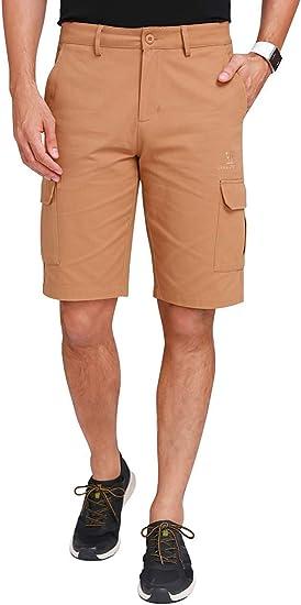 CAMEL CROWN Herren Cargo Shorts Sweatshorts Kurze Hose Reißverschluss 100% Baumwolle Sommer Shorts für Männer Lässige Hosen mit Taschen Freizeithose