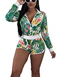 Dreamparis Women's Floral 2 Pieces Outfits - Long Sleeve Bodycon Jacket + Skinny Shorts Large Green