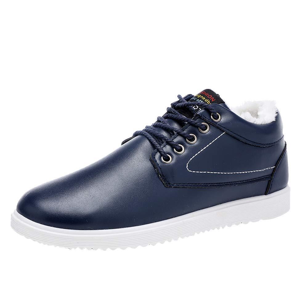 HOSOME Men Outdoor Leather Shoes Casual Lace-Up Comfortable Soles Keep Warm Shoes Men's Business Shoe Blue