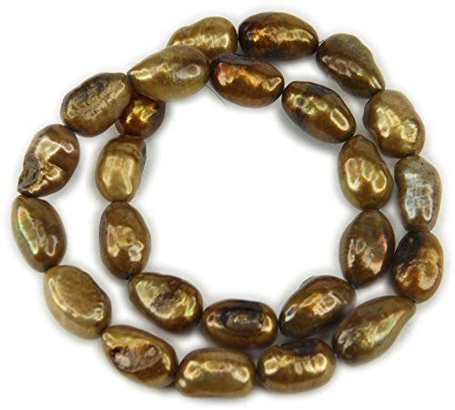 Bronze Potato Pearls - Beads, Freshwater Pearl, Large Bronze Brown Oval Potato 13mm - 6pcs