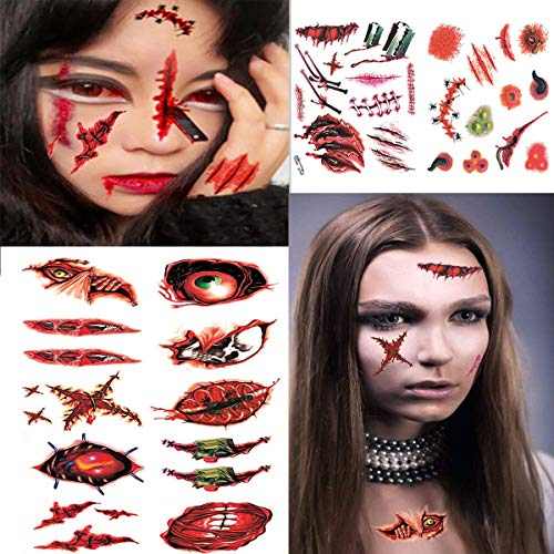 (24 Sheets Halloween Scar Tattoo Horror Realistic Fake Bloody Wound Stitch Waterproof Zombie Temporary Tattoo Sticker Halloween Masquerade Prank and Cosplay Makeup)
