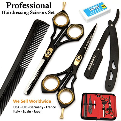 Barber Scissors - Saaqaans SQKIT Professional Hairdressing Scissors Set - Package includes Barber Scissor, Thinning Shear, Straight Razor, 10 x Derby Double Edge Blades and Hair Comb in Stylish Black Scissors Case