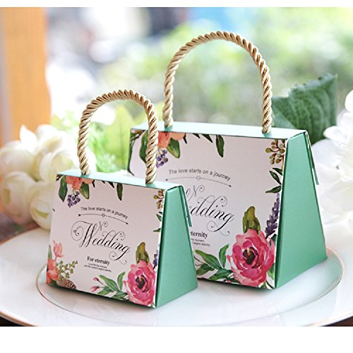 WPPOWER Wedding Gift Bags Bridesmaid Tote Bags Party Favors Gift Box Baby Shower or Birthday First Communion Christening Easter Decoration(Pack of 10) (Green, L)]()