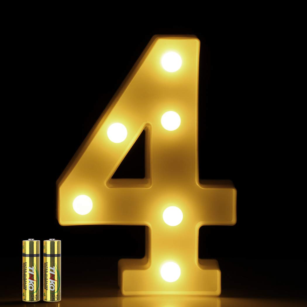 HONPHIER/® LED Number Lights Marquee Decoration Light Up Numbers Night Light Lights Sign for Home Party Wedding Anniversary Decor Battery Operated 6