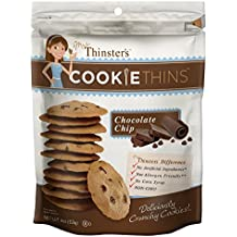Mrs. Thinster's Cookie Thins, Chocolate Chip Flavor, Thin Crunchy Cookies, Non-GMO, No Artificial Flavors, Colors, Preservatives, Peanut-Free, 16oz Bag, One Bag