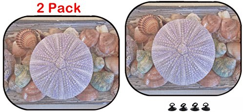 Luxlady Car Sun Shade Protector Block Damaging UV Rays Sunlight Heat for All Vehicles, 2 Pack Image ID: 18097367 Variety of sea Urchins and Shells on Sepia Sketch Paper (Sepia Shell)