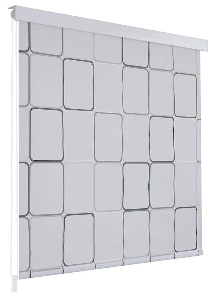 Festnight Cortina de Ducha Enrollable Persiana de Ducha Blanco Separador de Habitaciones para Baño con Diseño de Cuadrados 160x240cm: Amazon.es: Hogar