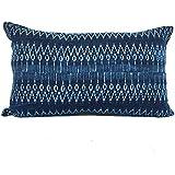 Hmong Tribal Indigo Batik Cotton Lumbar Pillow