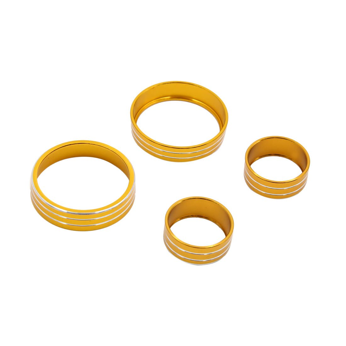 uxcell 4pcs Gold Tone Air Condition Switch Audio Button Decorative Ring Set for Kia KX5
