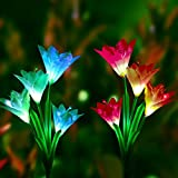 Outdoor Solar Garden Lights- 2 Pack Solar Stake Light Multi-Color Changing LED Garden Lights, 8 Lily Flower Solar Powered Decorative Lights for Garden, Patio and Backyard