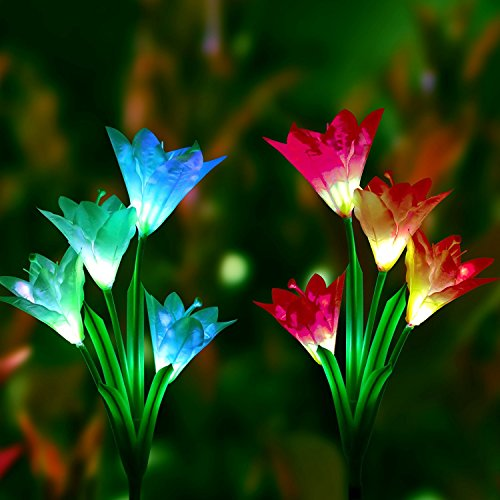 Lights- 2 Pack Solar Stake Light Multi-Color Changing LED Garden Lights, 8 Lily Flower Solar Powered Decorative Lights for Garden, Patio and Backyard (Lily Solar Garden)