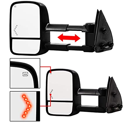 make auto parts manufacturing left side textured black power operated manual  folding telescopic type towing mirror