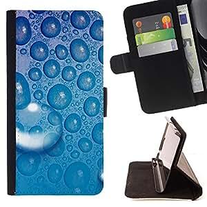 BullDog Case - FOR/HTC One M7 / - / Blue Water Drop 5 /- Monedero de cuero de la PU Llevar cubierta de la caja con el ID Credit Card Slots Flip funda de cuer