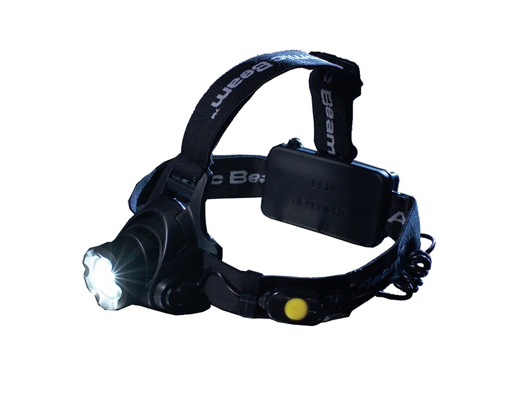 Atomic Beam Headlight by BulbHead, 5,000 Lux Hands-Free LED Headlamp, 3 Beam Modes