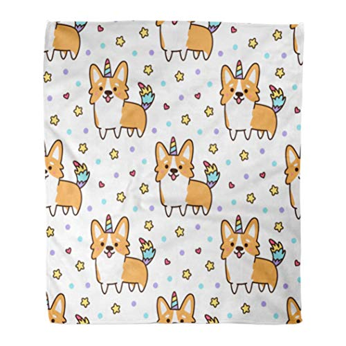 Emvency Flannel Throw Blanket Welsh Corgi in Unicorn Costume Horn and Colorful Tail Excellent for Children Linens 60x80 Inch Lightweight Cozy Plush Fluffy Warm Fuzzy Soft