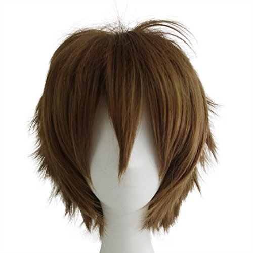 Make It Yourself Costumes For Couples (Alacos Short Fashion Dark Brown Layered Anime Cosplay Wig Halloween Christmas Carnival Dress Up Pretend Play Party Wig Gift+Cap)