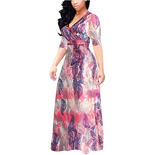 Akmipoem Women Half Sleeve Floral Print Self-tie Surplice Swing Maxi Bohemian Dress, X-Large/US 12