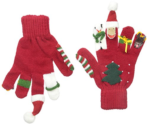 Kidorable Red Christmas Soft Acrylic Gloves w/Santa, Snowman, Reindeer and More, Medium (Ages 6-8)