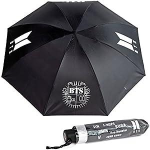 paraguas de bts color negro con logotipo