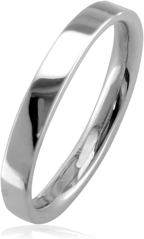 Wedding Bands Classic Bands Flat Bands w//Edge Titanium Ridged Edge 5mm Polished Band Size 10