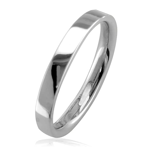 Mens Or Ladies Classic Plain Flat Square Edge Wedding Band 3mm Wide In 18k