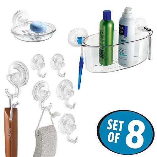 mDesign Suction Bathroom Shower Basket