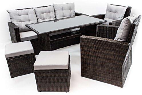 AVANTI TRENDSTORE – Andalusia – Set da giardino con tavolo incluso, in polirattan marrone scuro e vetro nero