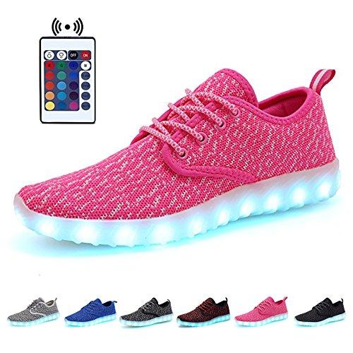Kealux 7 Färg Usb Laddnings Blinkande Lysdiod Kvinnor Män Andas Nattlysande Sportskor Låga Topp Snörning Tyg Sneakers Med Fjärrkontroll Rosa