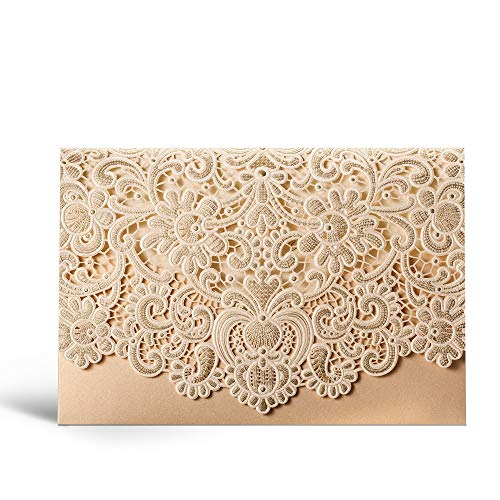 Laser Cut Wedding Invitations Gold Pocket Invite Cards with Envelopes Wedding Invites Kit Lace Flora Favors Blank Printable Cardstock for Engagement Bridal Shower CW072 (20 Pieces)